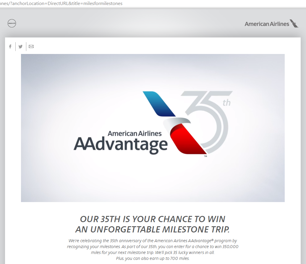 American Airlines – 350 Free AAdvantage Frequent Flier Miles + 350,000 Mile Sweepstakes through June 1, 2016